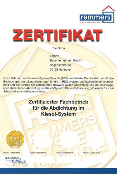 Zertifikat-Remmers System-Garantie