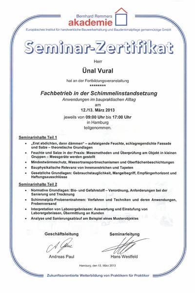Zertifikat Remmers Fachbetrieb in der Schimmelinstandsetzung 2013