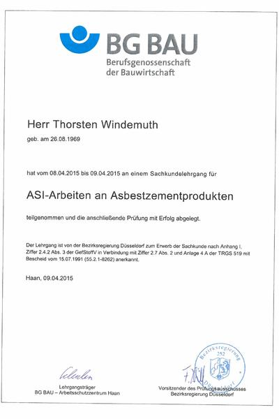 Zertifikat Asbest Windemuth 15-04-09