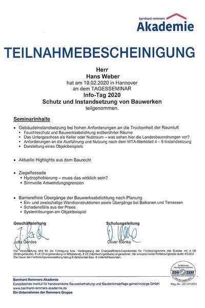 Bescheinigung Remmers Schutz und Instandsetzung v. Bauwerken 2020