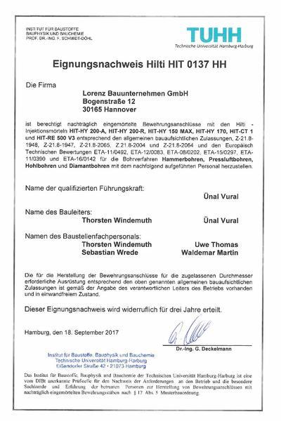 Eignungsnachweis Hilti Hit 2017