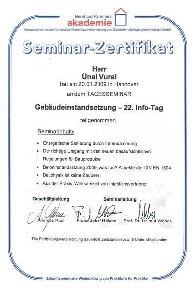 Zertifikat Gebäudeinstandsetzung 2009 Vural