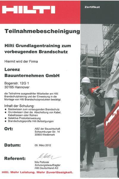 Zertifikat-Hilti Brandschutz