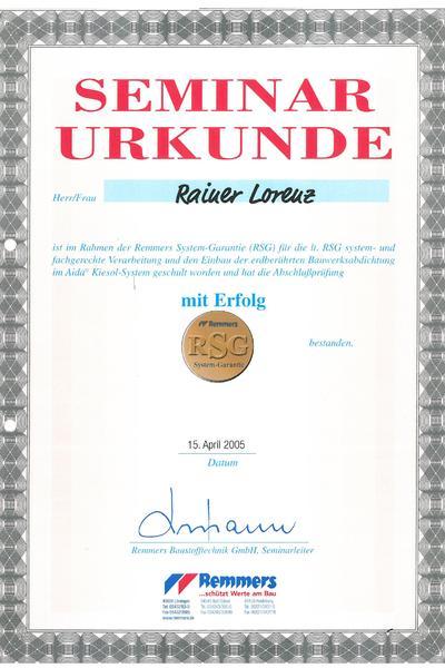 Zertifikat-Remmers erdberührte Bauwerksabdichtung