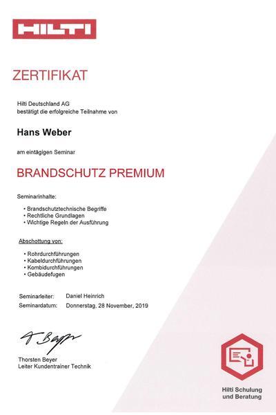Zertifikat Hilti Brandschutz Premium 2020 Weber