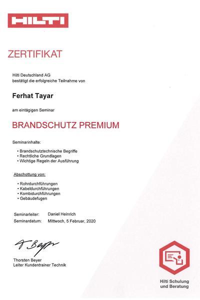 Zertifikat Hilti Brandschutz Premium 2020 Tayar