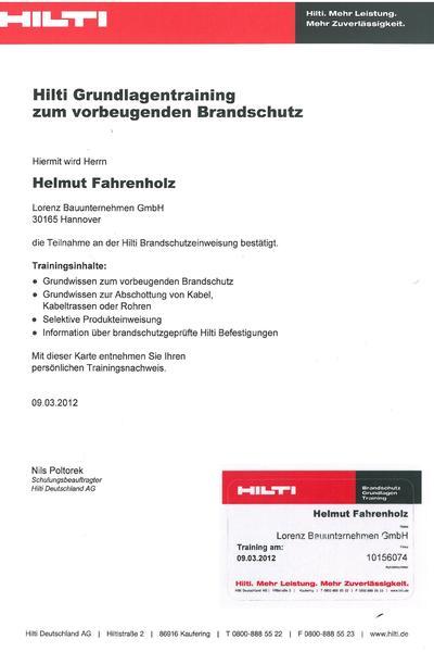 Zertifikat - Hilti - Brandschutz - Fahrenholz