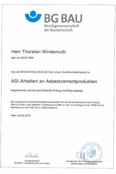 Zertifikat Asbest Windemuth