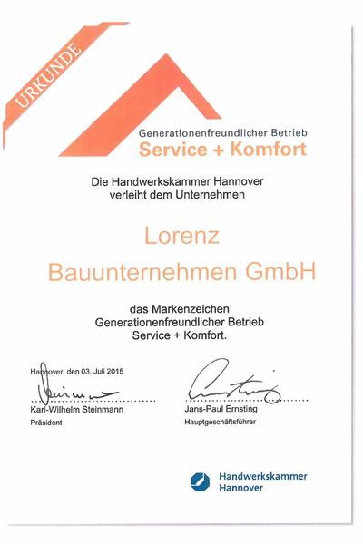 Urkunde -  Genarationenfreundlicher Betrieb